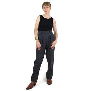 80s Grey High Rise Pleated Wool Straight Leg Pants